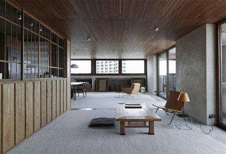 伦敦·日式+野兽派风格Barbican公寓设计